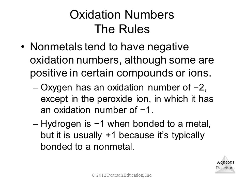 Oxidation Numbers The Rules