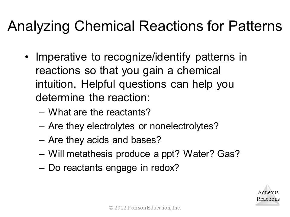 Analyzing Chemical Reactions for Patterns