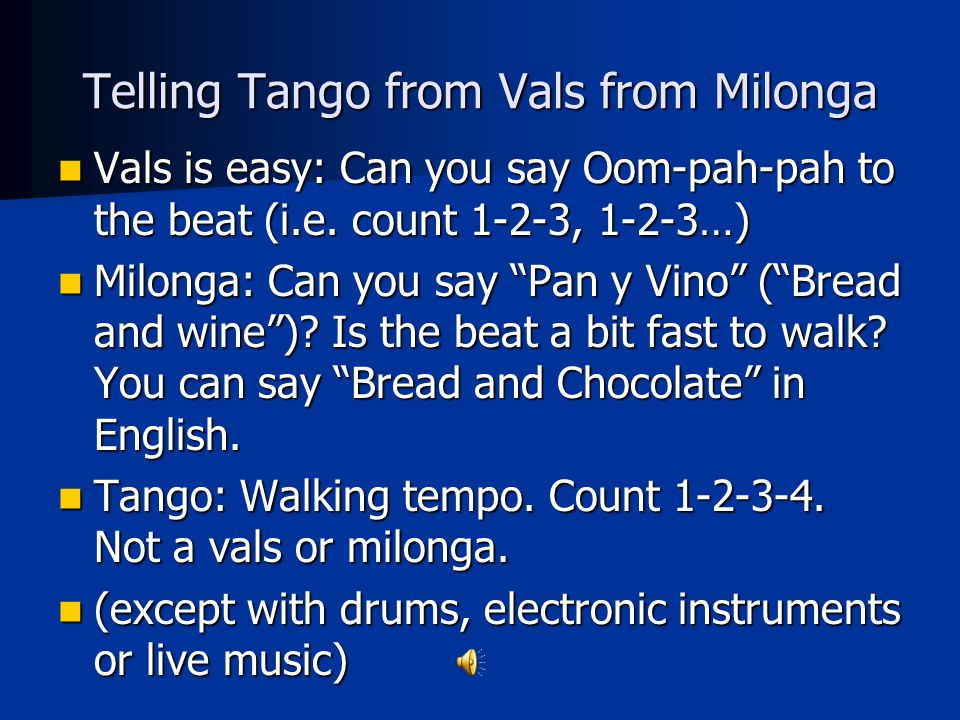 Telling Tango from Vals from Milonga