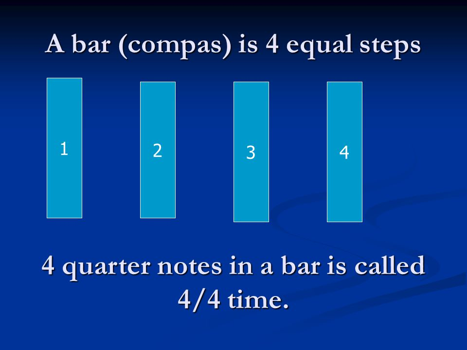 A bar (compas) is 4 equal steps