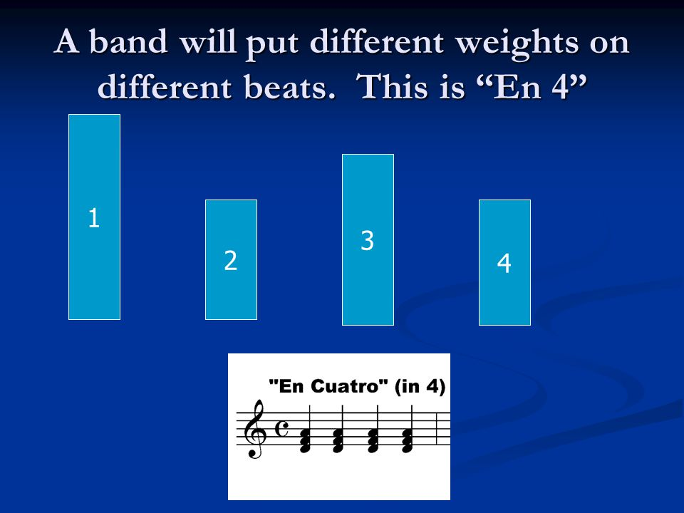 A band will put different weights on different beats. This is En 4