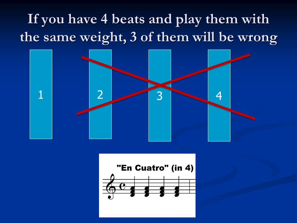 If you have 4 beats and play them with the same weight, 3 of them will be wrong