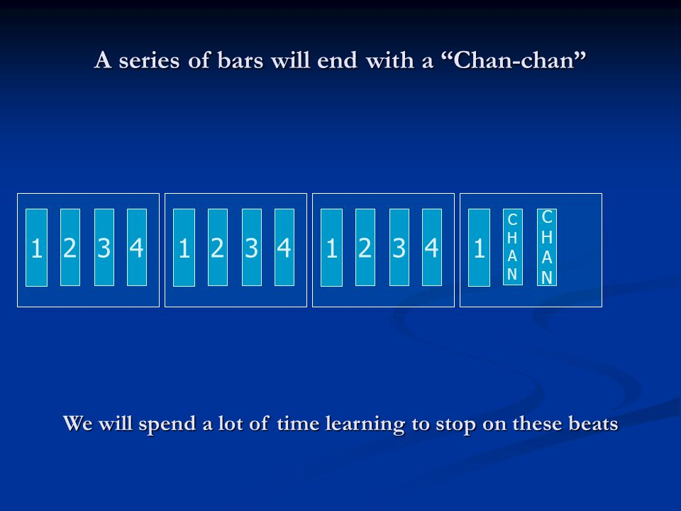 A series of bars will end with a Chan-chan