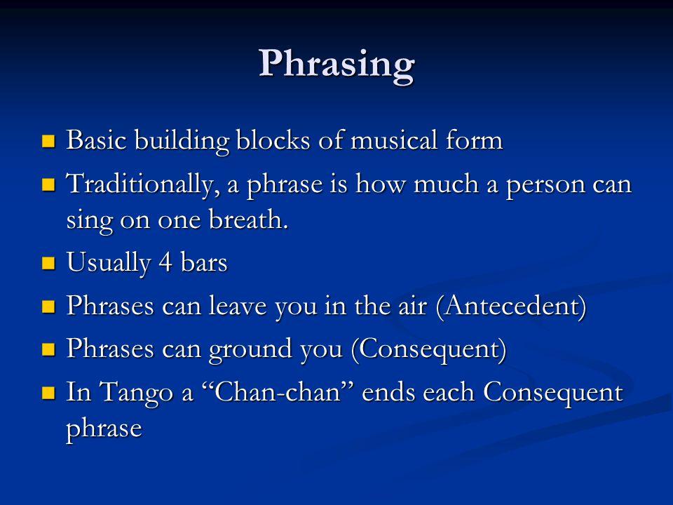Phrasing Basic building blocks of musical form