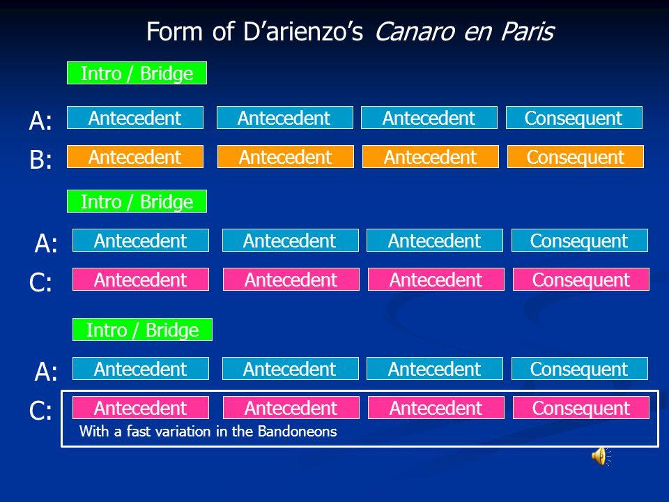 Form of D'arienzo's Canaro en Paris