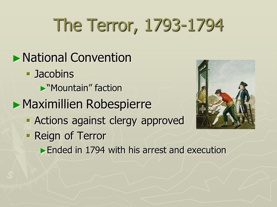 The Terror, 1793-1794 National Convention Maximillien Robespierre
