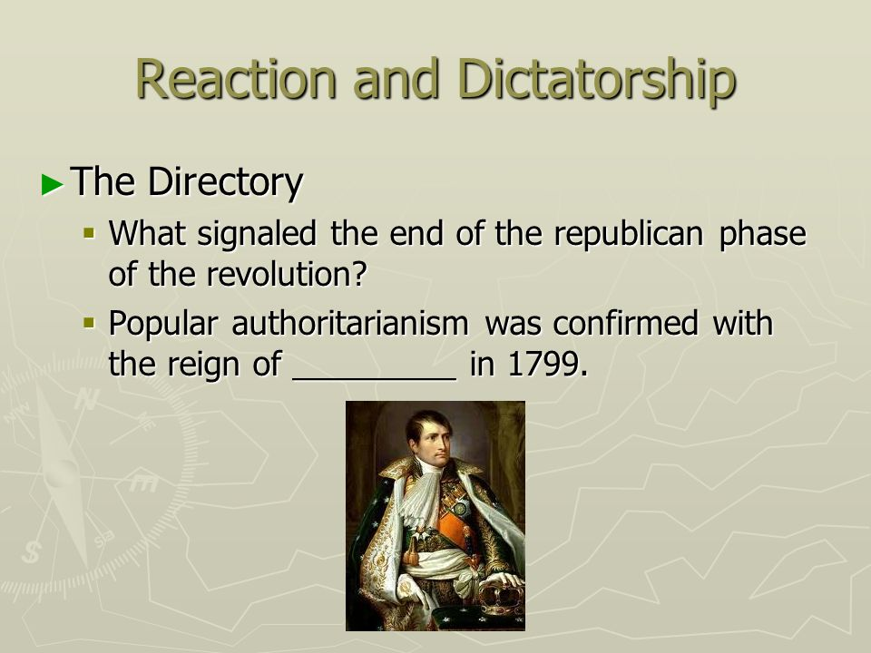 Reaction and Dictatorship