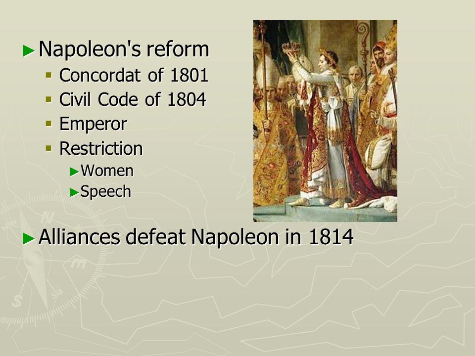 Alliances defeat Napoleon in 1814