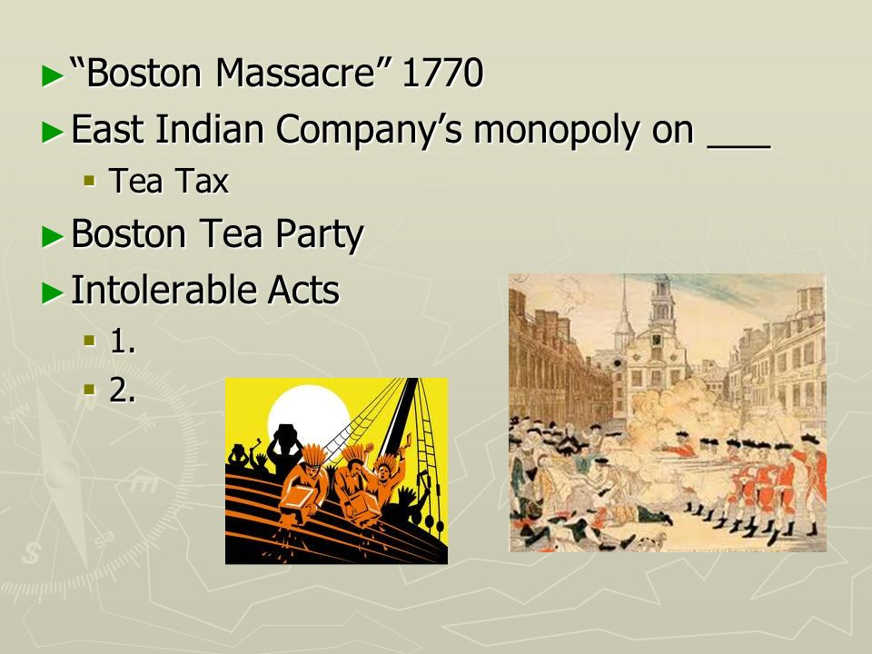 East Indian Company's monopoly on ___ Boston Tea Party