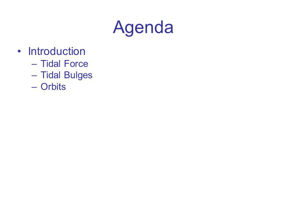Agenda Introduction Tidal Force Tidal Bulges Orbits