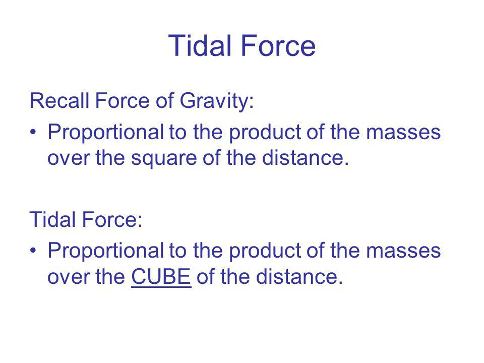Tidal Force Recall Force of Gravity: