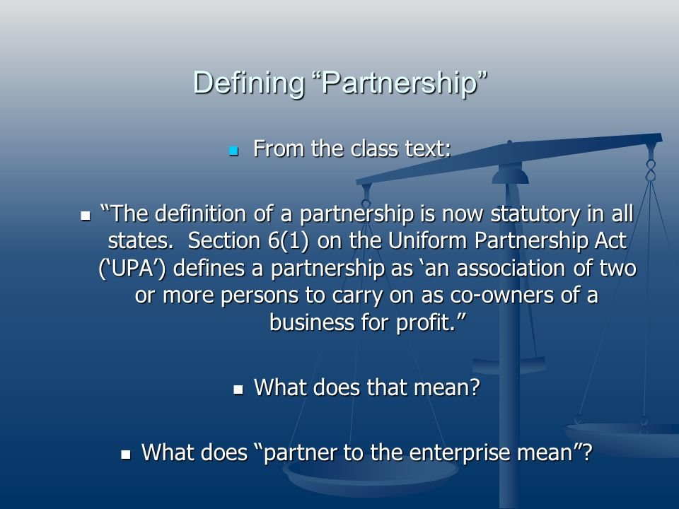 Defining Partnership