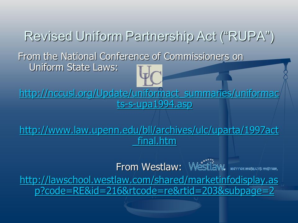 Revised Uniform Partnership Act ( RUPA )