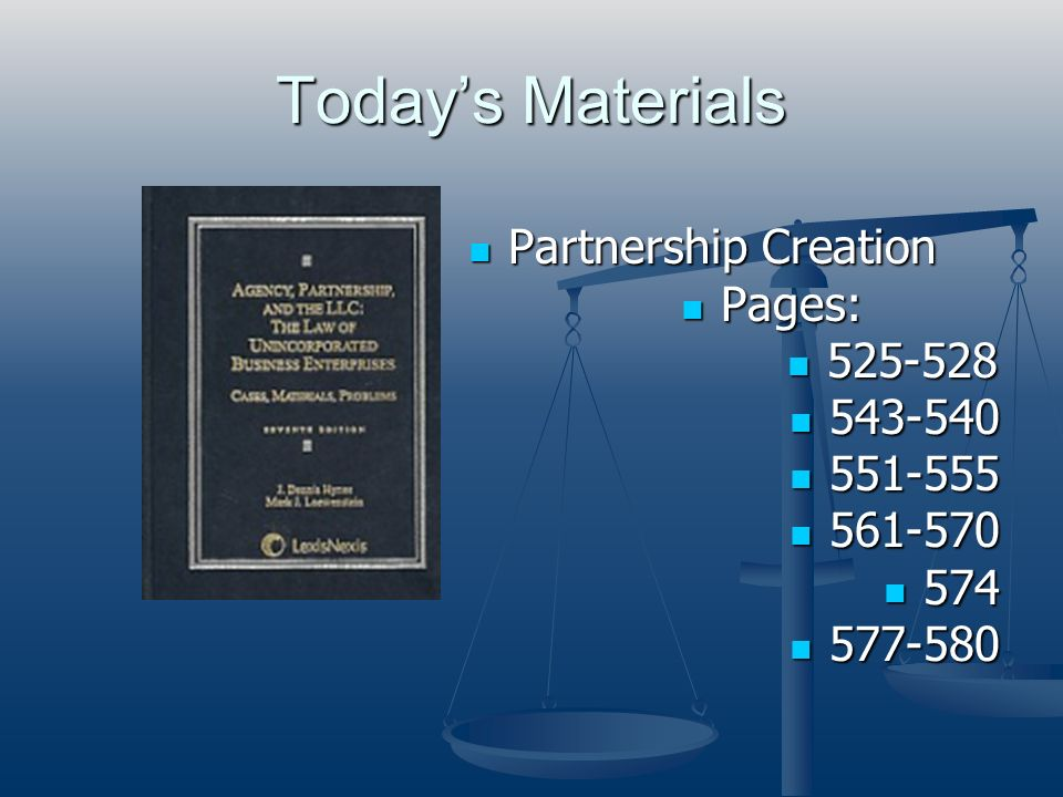 Today's Materials Partnership Creation Pages: