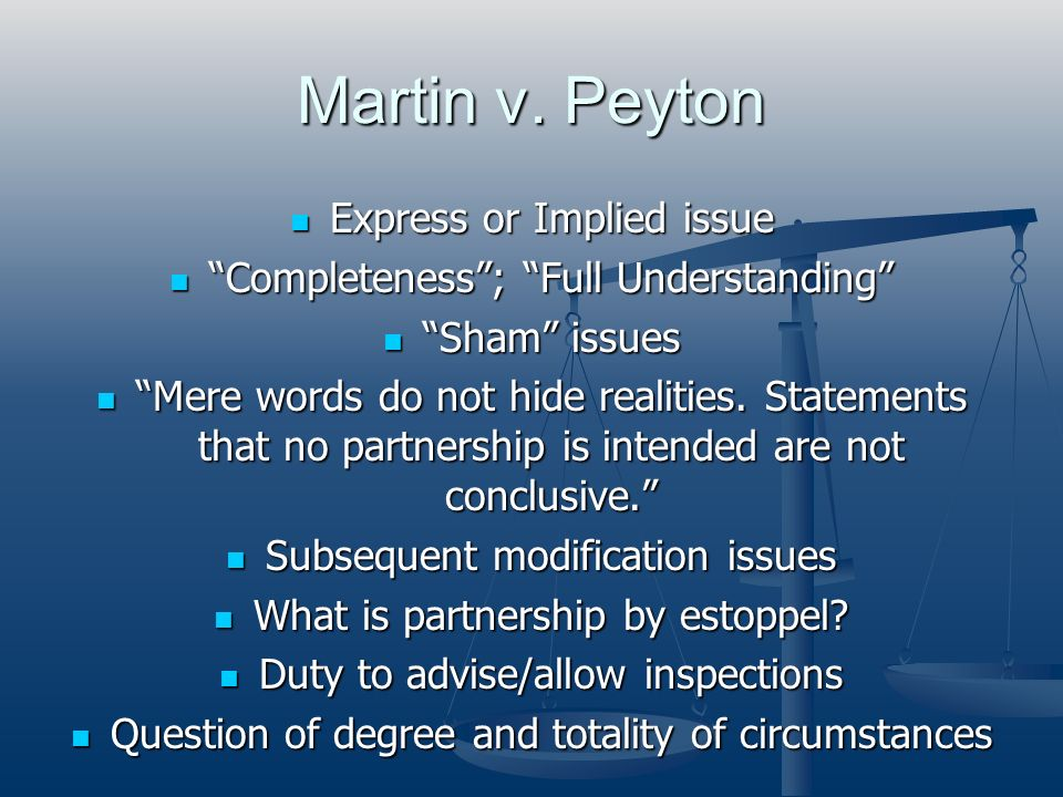 Martin v. Peyton Express or Implied issue