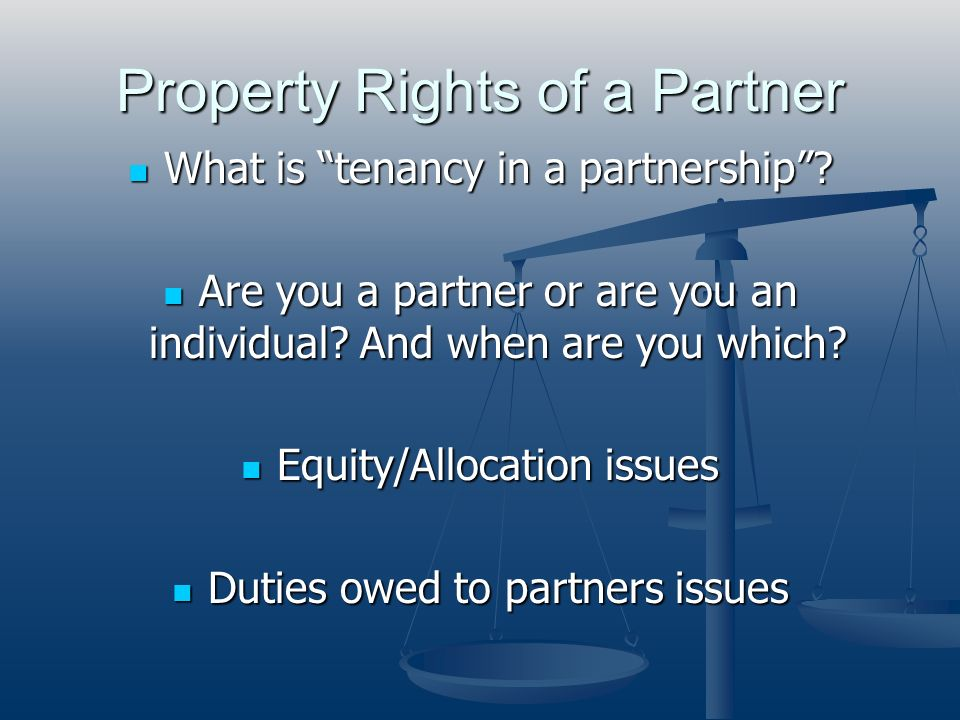 Property Rights of a Partner