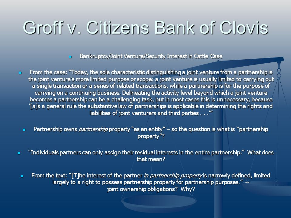 Groff v. Citizens Bank of Clovis