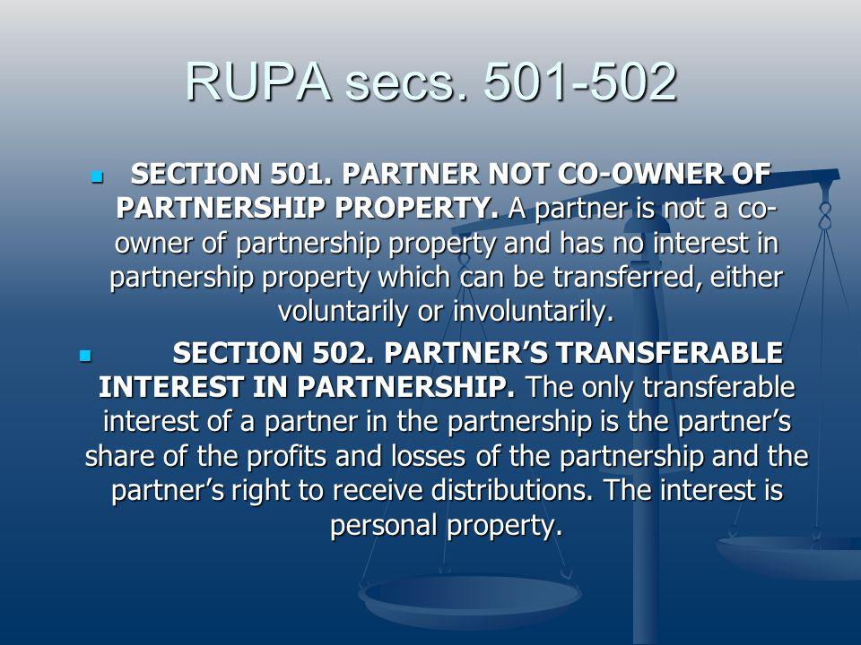 RUPA secs. 501-502