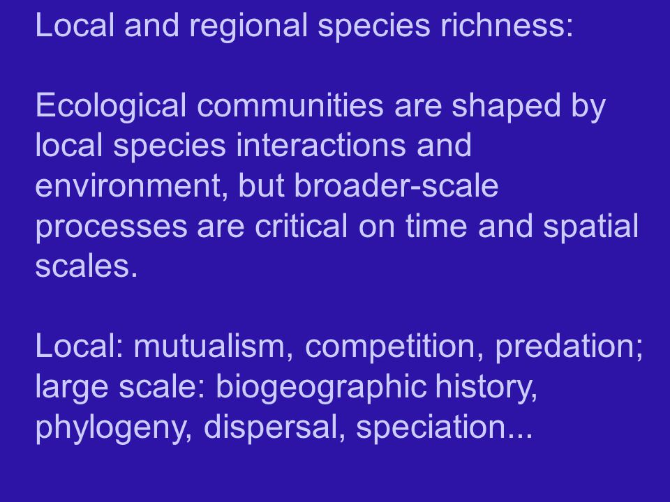 Local and regional species richness: