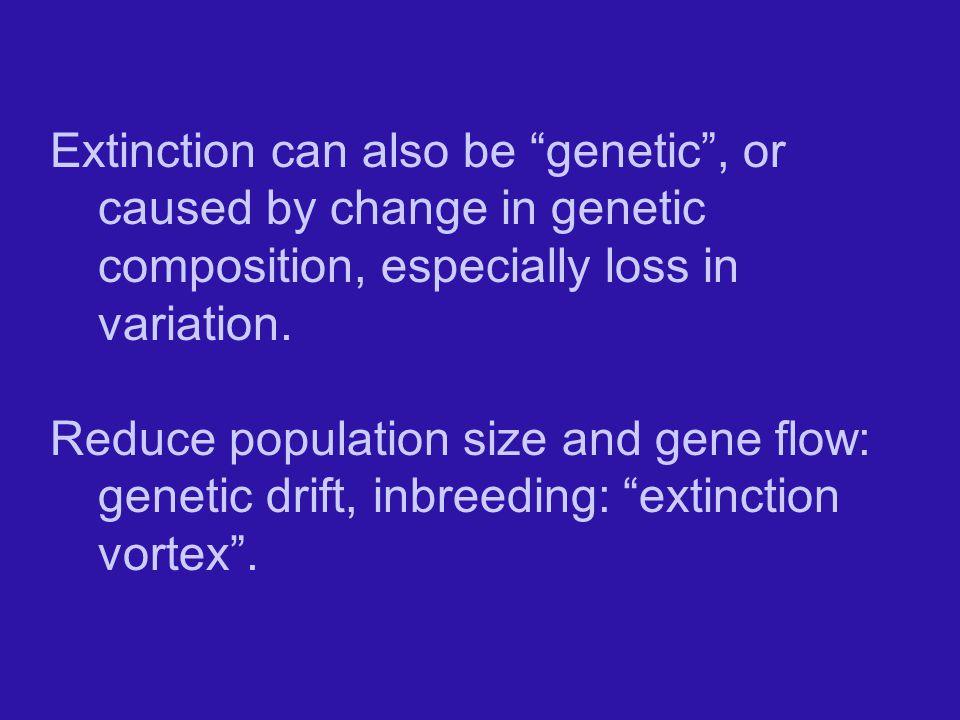 Extinction can also be genetic , or caused by change in genetic composition, especially loss in variation.