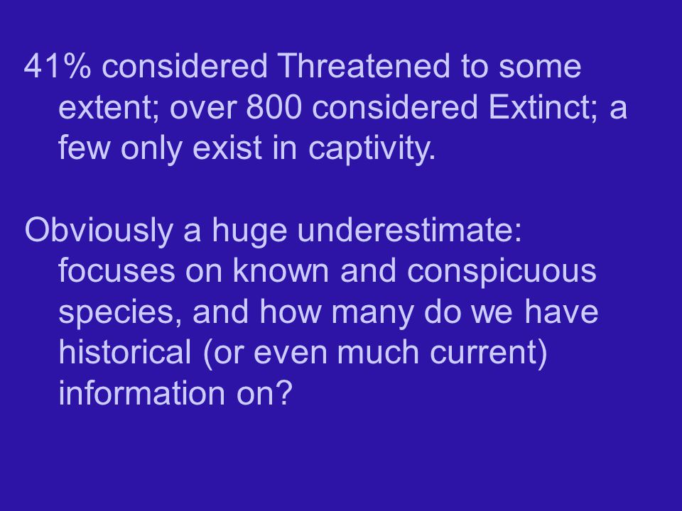 41% considered Threatened to some extent; over 800 considered Extinct; a few only exist in captivity.