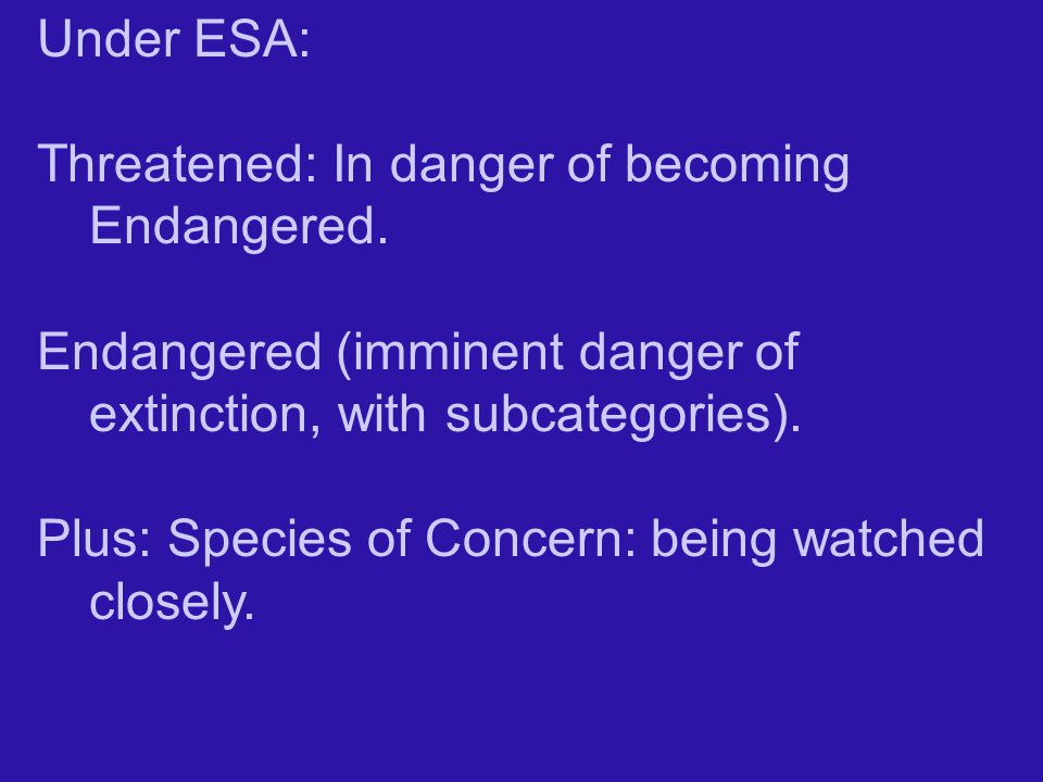 Under ESA: Threatened: In danger of becoming Endangered. Endangered (imminent danger of extinction, with subcategories).