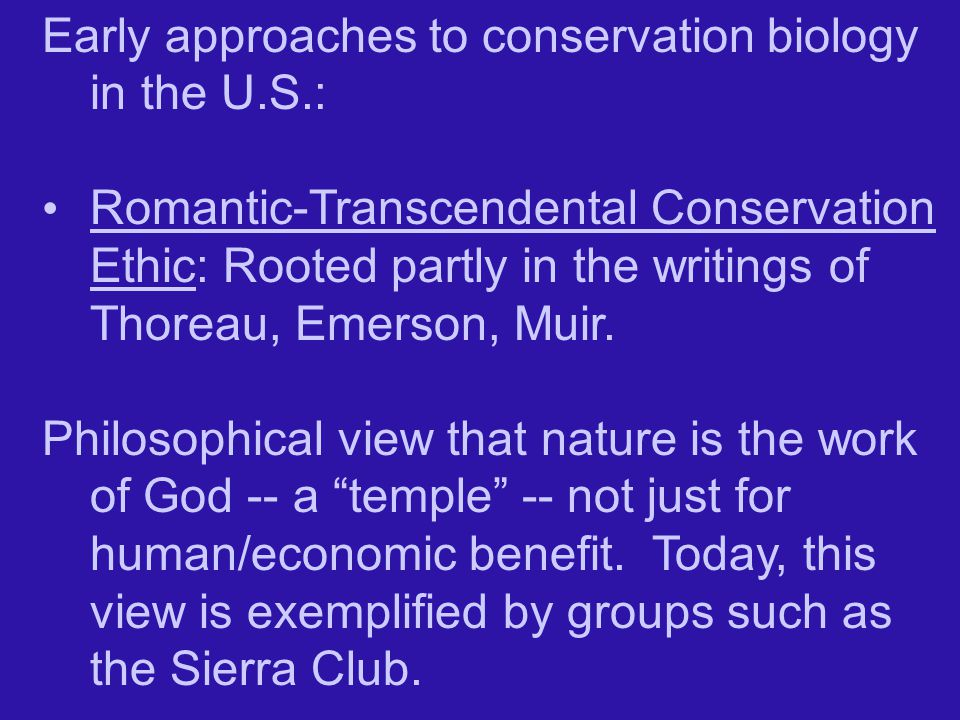 Early approaches to conservation biology in the U.S.: