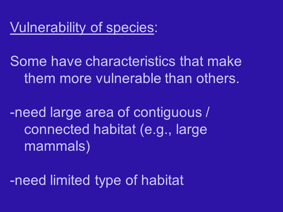 Vulnerability of species: