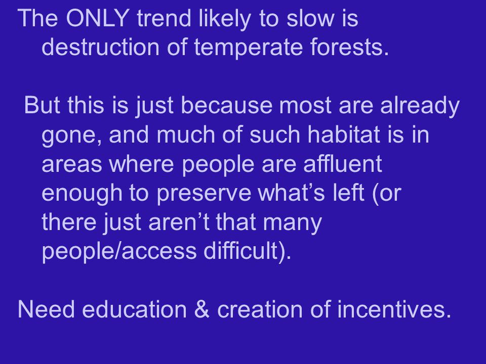 The ONLY trend likely to slow is destruction of temperate forests.