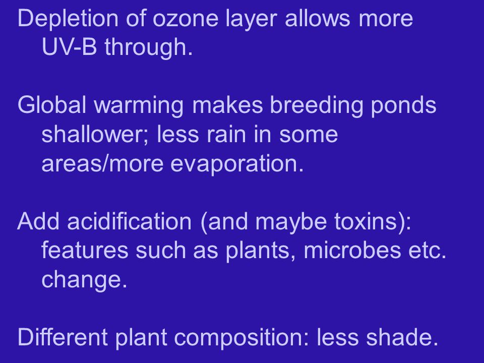 Depletion of ozone layer allows more UV-B through.