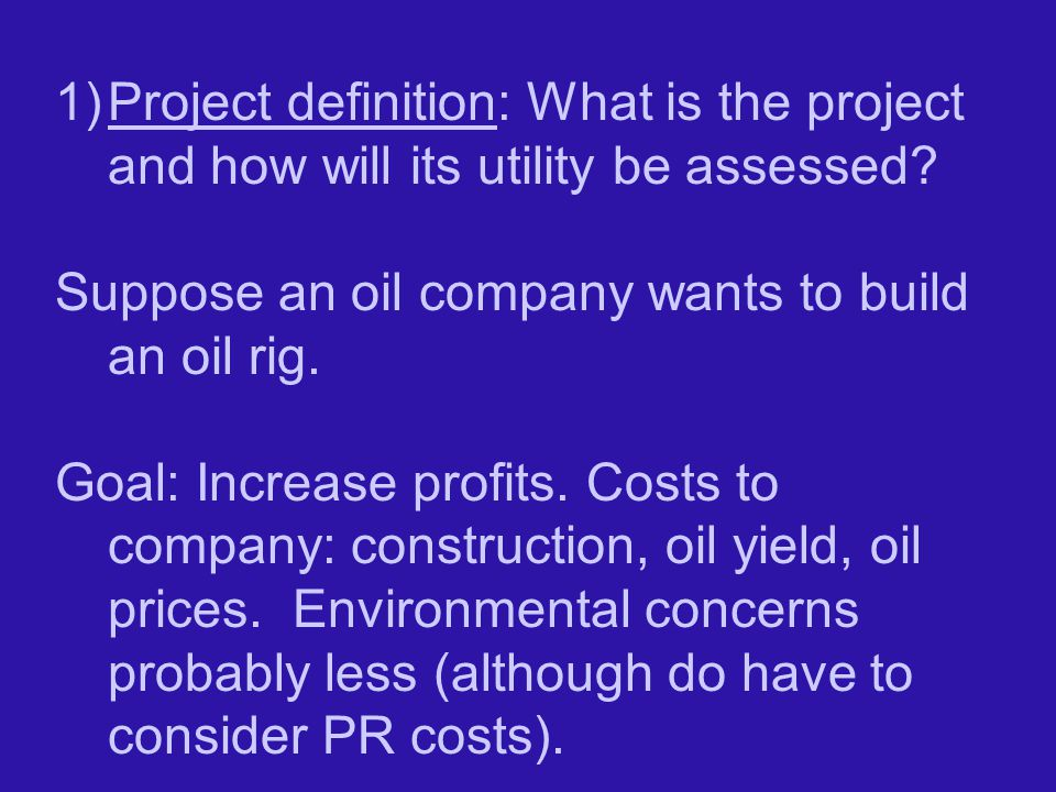 Project definition: What is the project and how will its utility be assessed