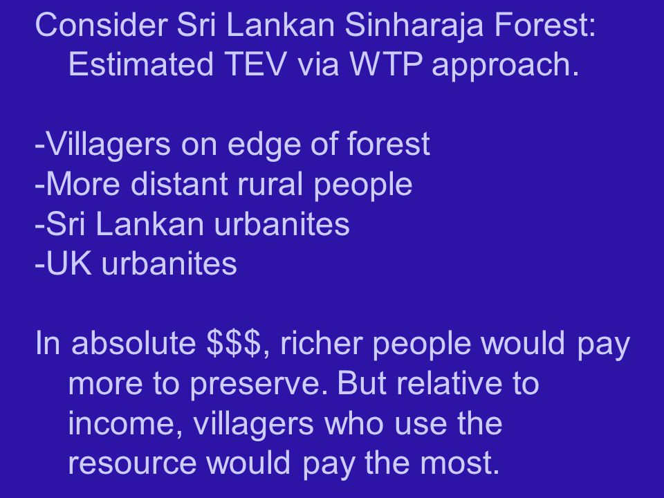 Consider Sri Lankan Sinharaja Forest: Estimated TEV via WTP approach.