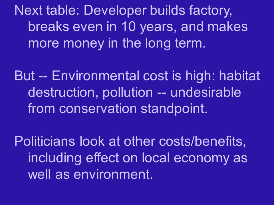 Next table: Developer builds factory, breaks even in 10 years, and makes more money in the long term.