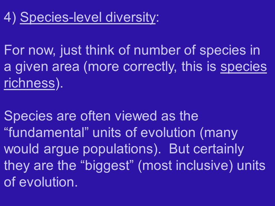 4) Species-level diversity: