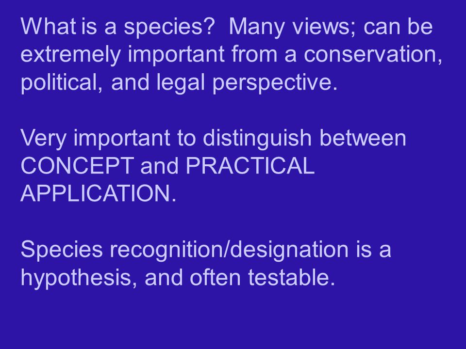 What is a species Many views; can be