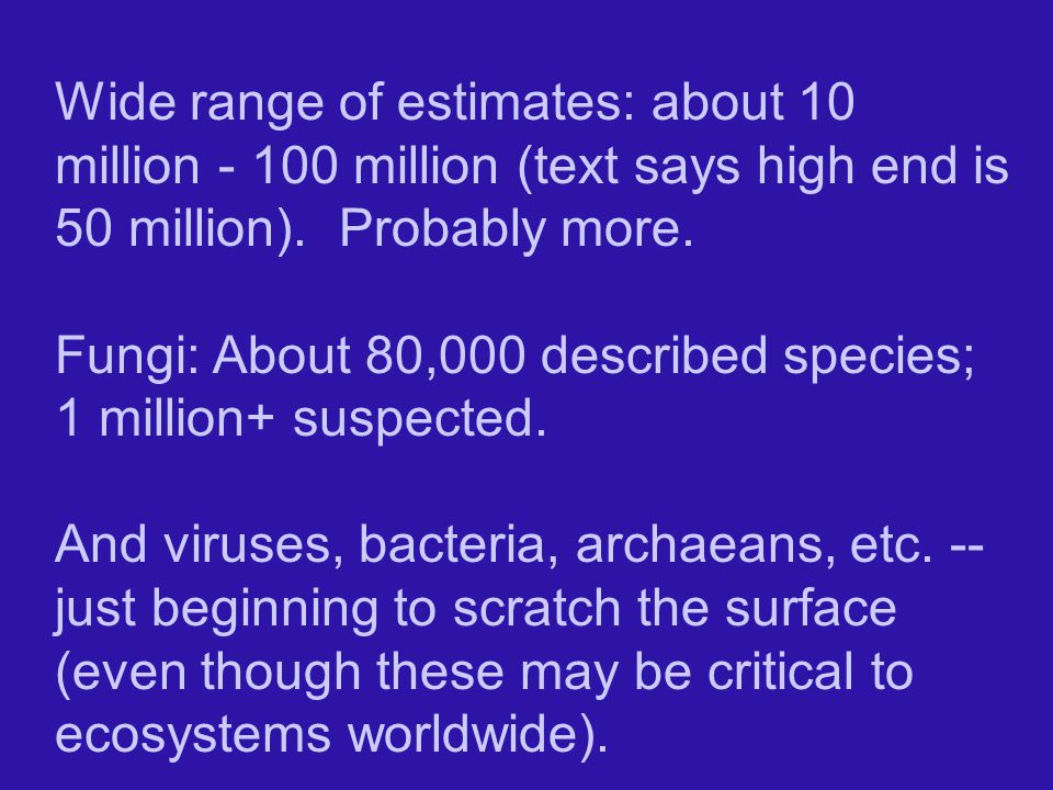 Wide range of estimates: about 10 million - 100 million (text says high end is 50 million). Probably more.