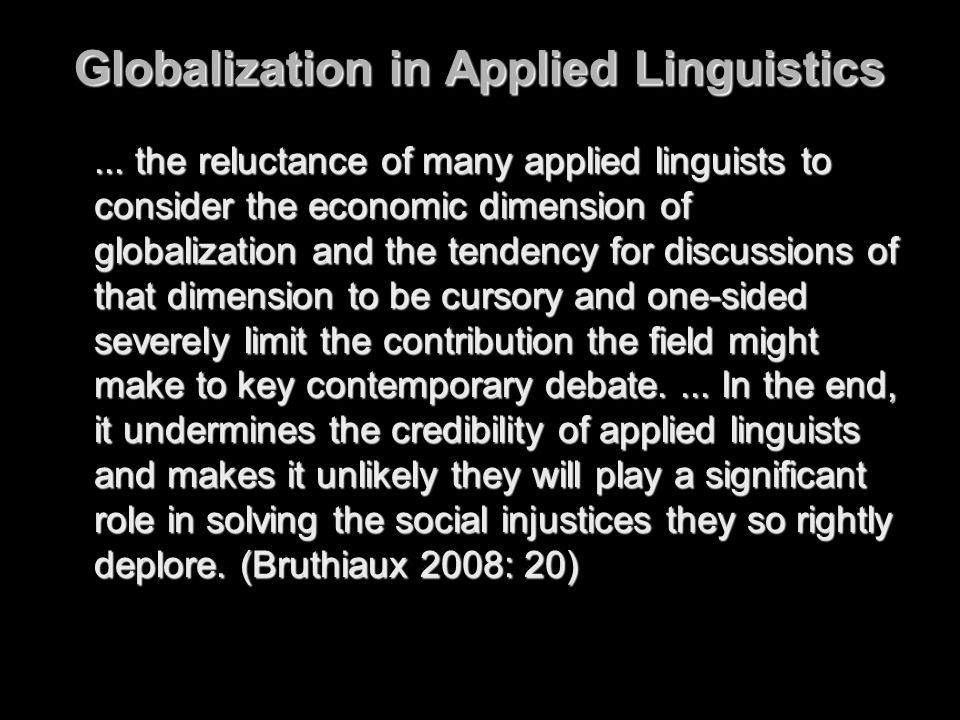 Globalization in Applied Linguistics