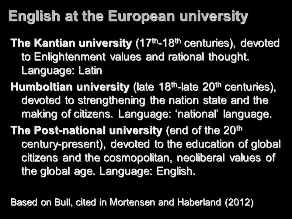 English at the European university