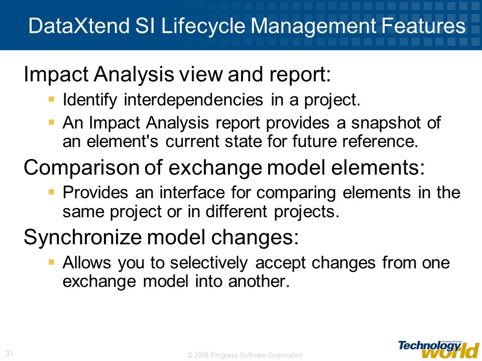 DataXtend SI Lifecycle Management Features