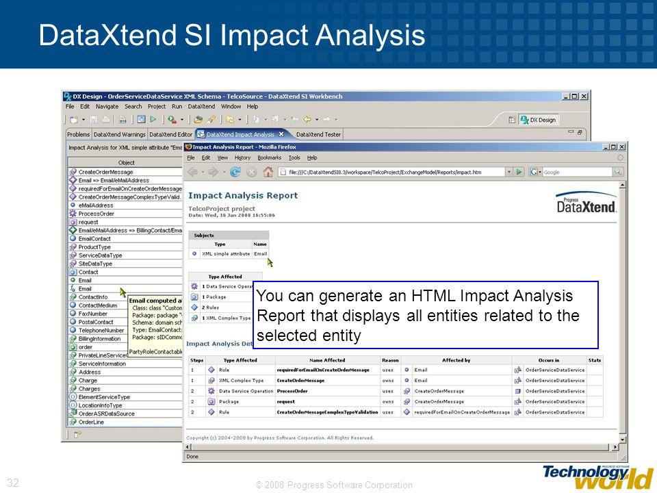 DataXtend SI Impact Analysis