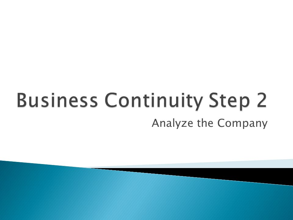 Business Continuity Step 2