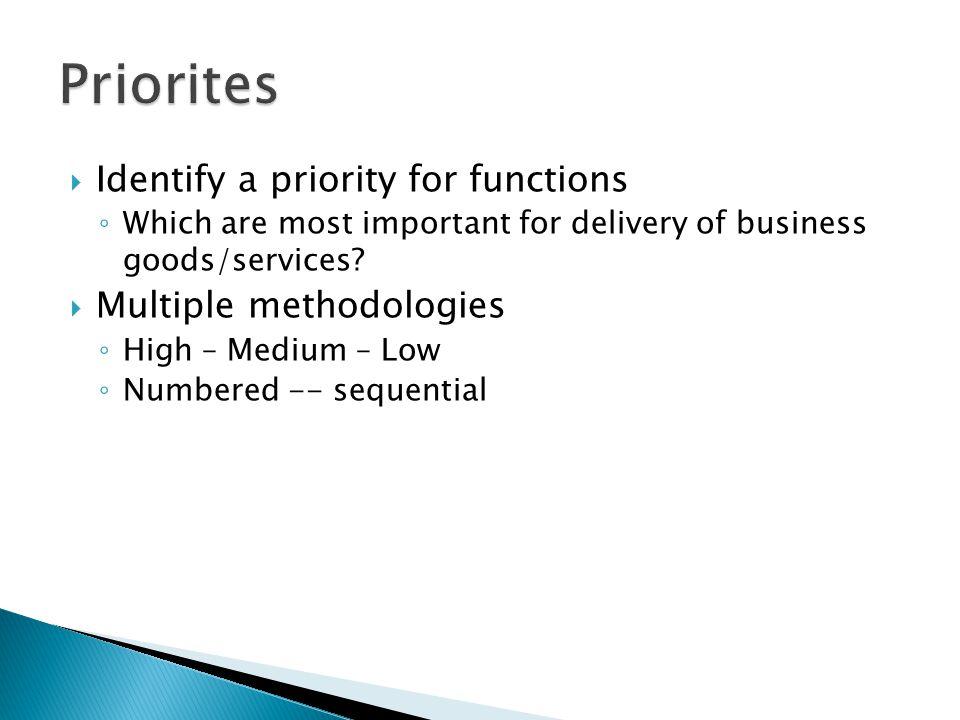 Priorites Identify a priority for functions Multiple methodologies
