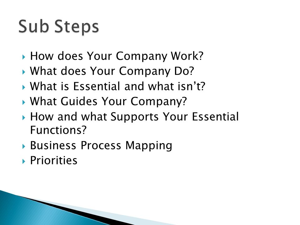 Sub Steps How does Your Company Work What does Your Company Do