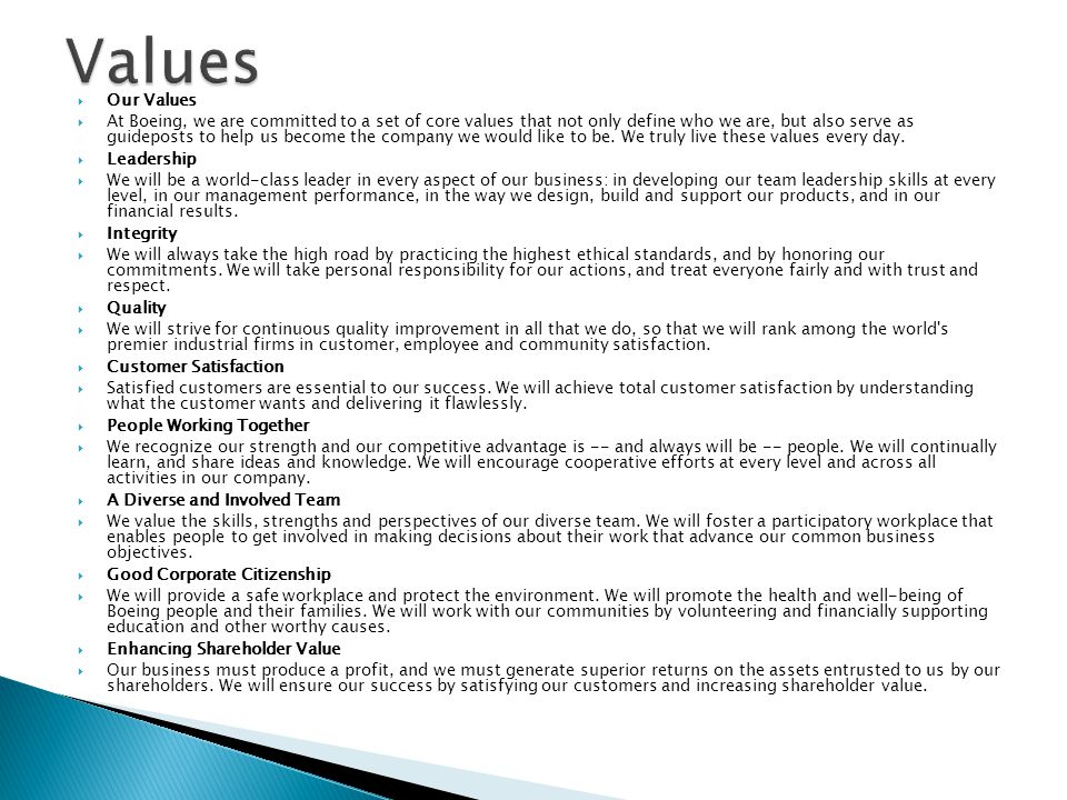 Values Our Values.