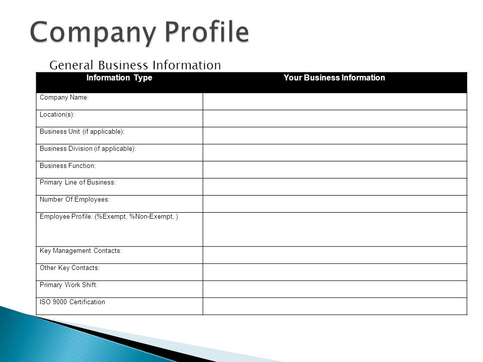 Your Business Information