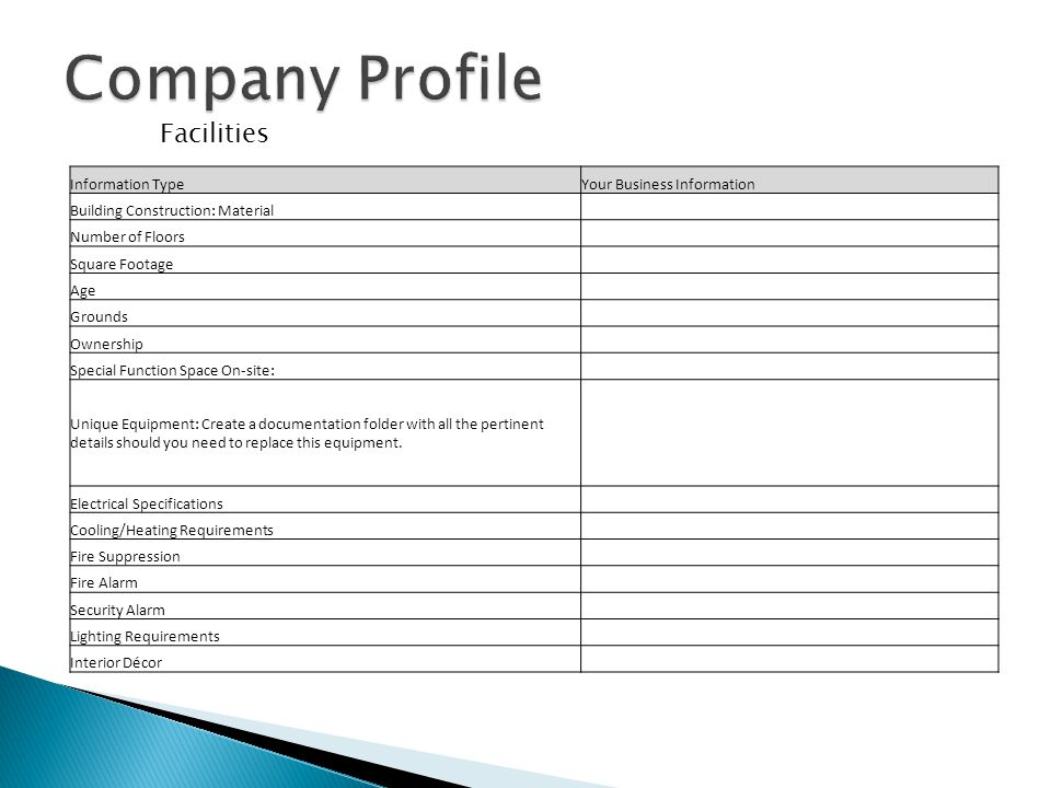 Company Profile Facilities Information Type Your Business Information