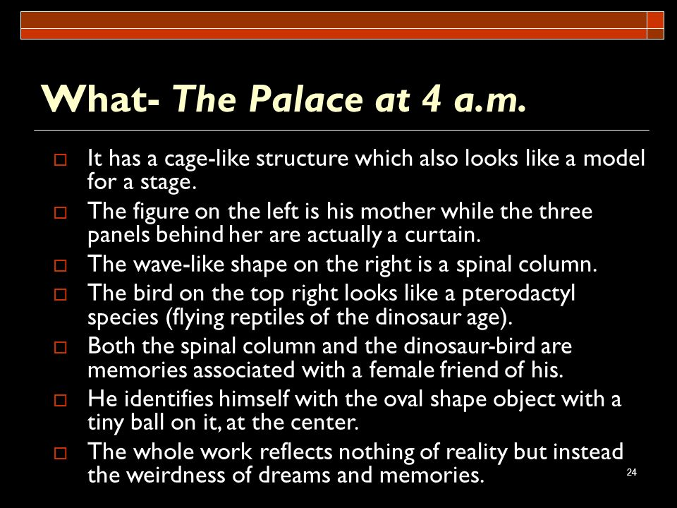 What- The Palace at 4 a.m. It has a cage-like structure which also looks like a model for a stage.