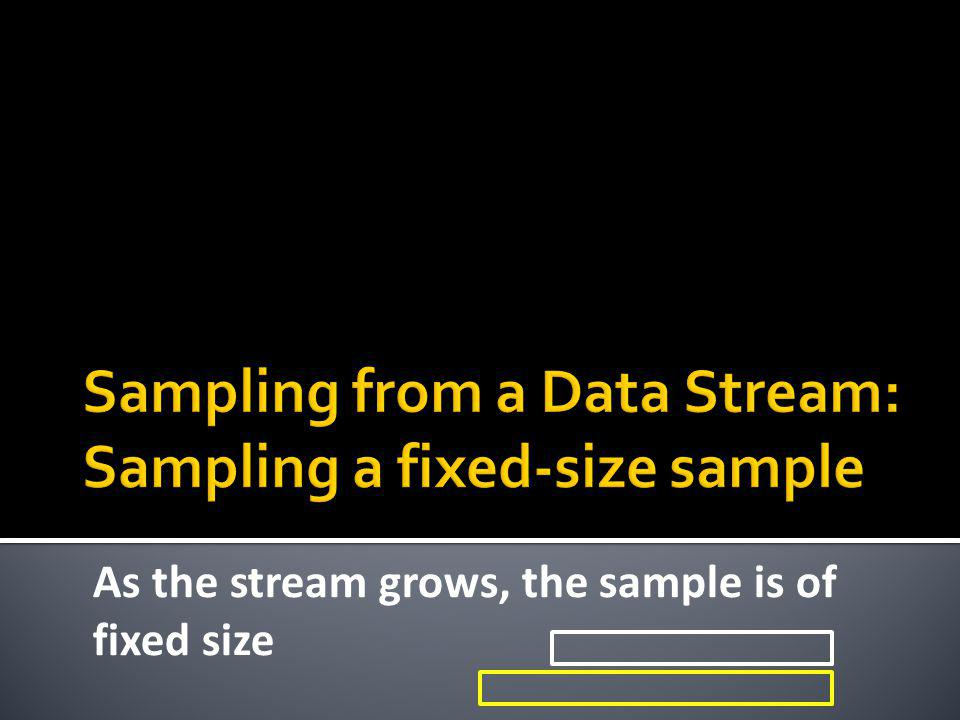 Sampling from a Data Stream: Sampling a fixed-size sample
