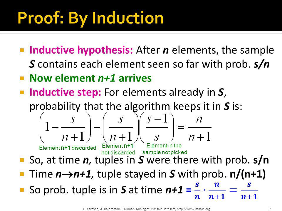 Proof: By Induction Inductive hypothesis: After n elements, the sample S contains each element seen so far with prob. s/n.