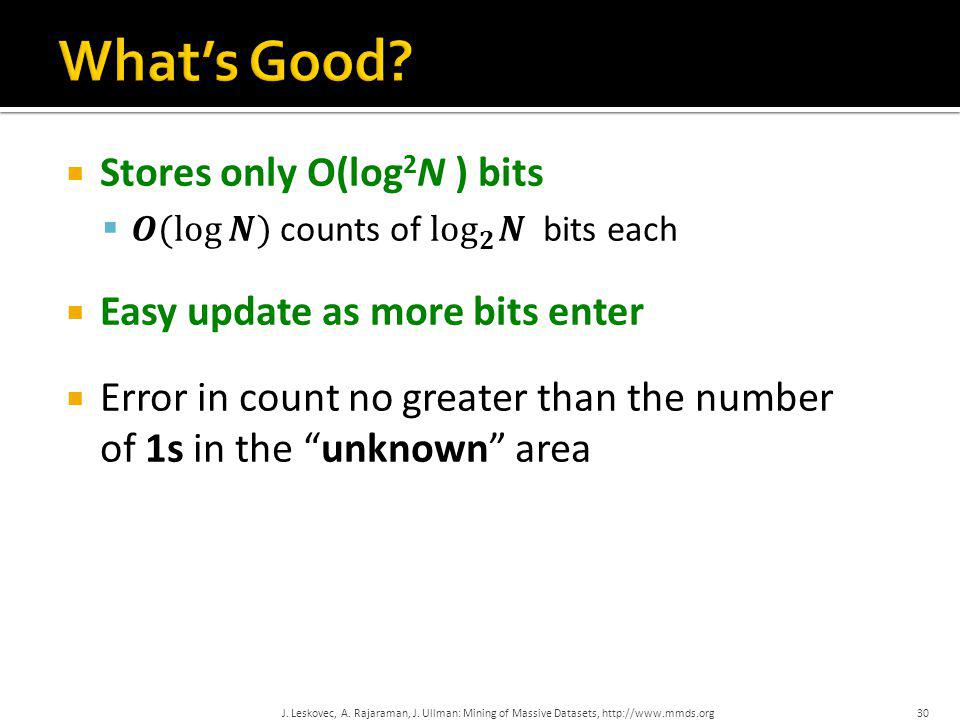 What's Good Stores only O(log2N ) bits Easy update as more bits enter